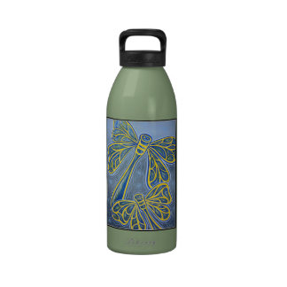 Dragonfly on Blue - Water Bottle