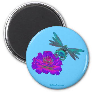 Dragonfly On Flower Funny Magnet