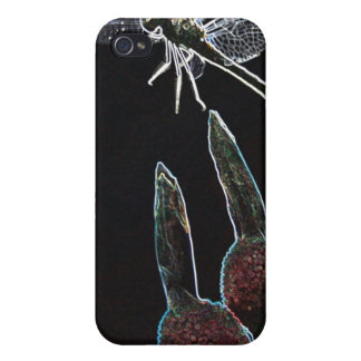 Dragonfly on Flower Glowing Edges iPhone 4 Case