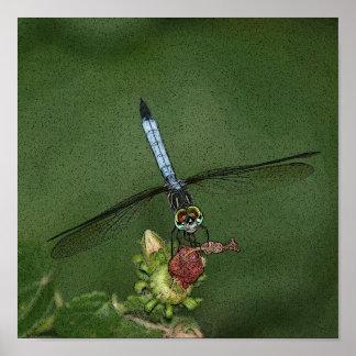 Dragonfly on Flower Photo Art Print