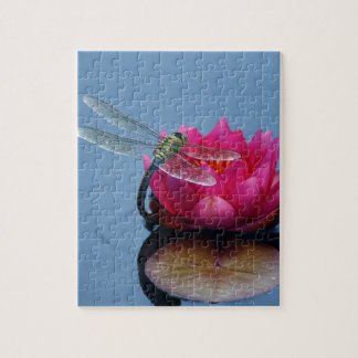 Dragonfly On Lotus Flower Jigsaw Puzzles