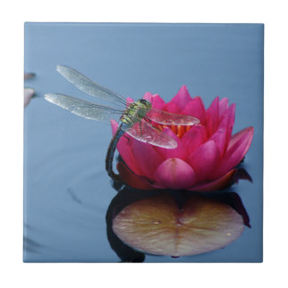 Dragonfly On Lotus Flower Ceramic Tile