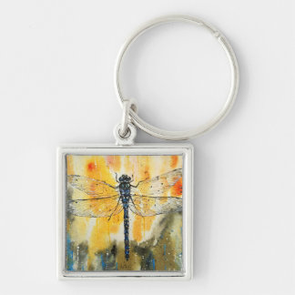 Dragonfly on my Window Silver-Colored Square Keychain