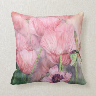 Dragonfly On Peach Poppies Art Designer Pillow