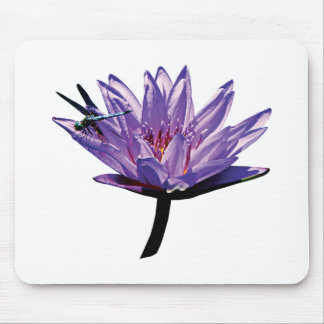 Dragonfly on Purple Water Lily Mouse Pad