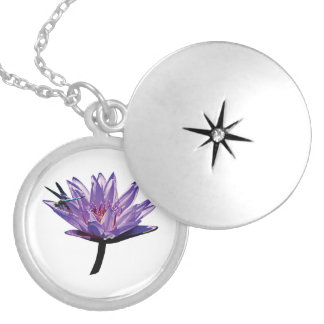 Dragonfly on Purple Water Lily Round Locket Necklace
