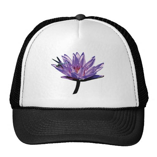 Dragonfly on Purple Water Lily Trucker Hat