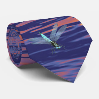 dragonfly on sunset water tie