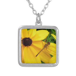 Dragonfly on yellow flower silver plated necklace