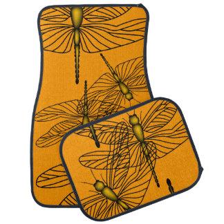 Dragonfly Orange/Gold Car Mat Set