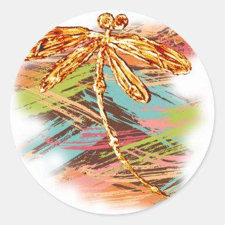 Dragonfly Orange Splash Classic Round Sticker