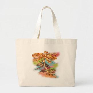 Dragonfly Orange Splash Large Tote Bag