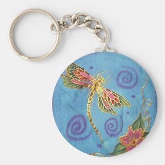 Dragonfly: original hand painted silk by Cyn MC Keychain