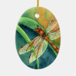 Dragonfly Double-Sided Oval Ceramic Christmas Ornament