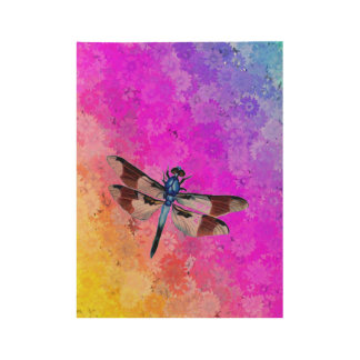 Dragonfly over Daisies in Rainbow Colors Wood Poster