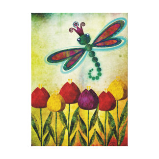 Dragonfly Over Tulips Gallery Wrapped Canvas