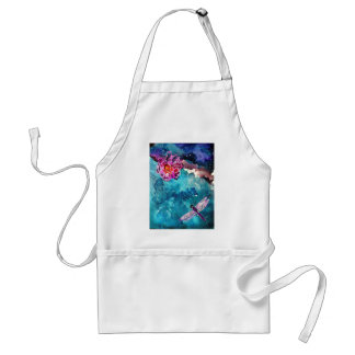 Dragonfly Over Water With Flower Art Painting Adult Apron