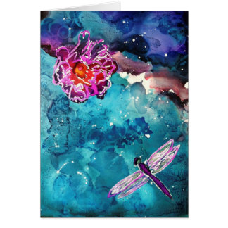 Dragonfly Over Water With Flower Art Painting Card