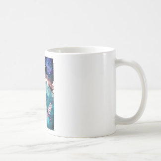 Dragonfly Over Water With Flower Art Painting Classic White Coffee Mug