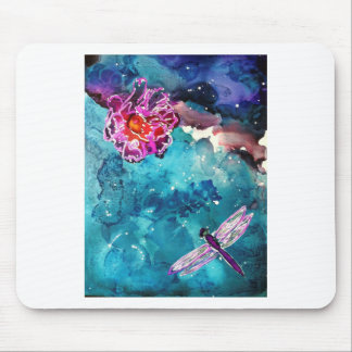 Dragonfly Over Water With Flower Art Painting Mouse Pad