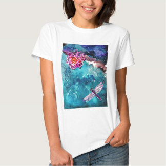 Dragonfly Over Water With Flower Art Painting Shirt