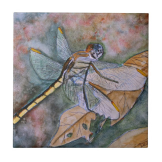 dragonfly painting ceramic tile