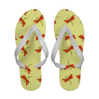 Dragonfly pattern flip flops