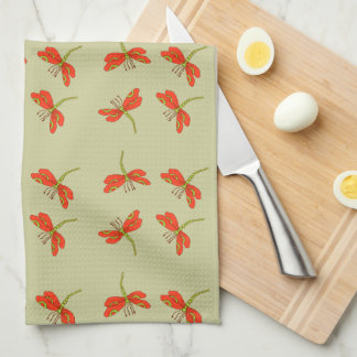 Dragonfly pattern hand towel