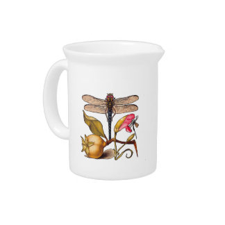 Dragonfly, Pear, Carnation, and Insect Beverage Pitcher