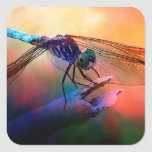 DRAGONFLY PINK AND GOLDEN DUSK.jpg Square Sticker