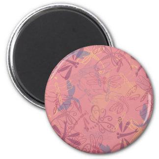 dragonfly pink design 2 inch round magnet