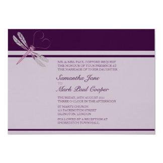 Dragonfly 'Plum' Wedding Invitations