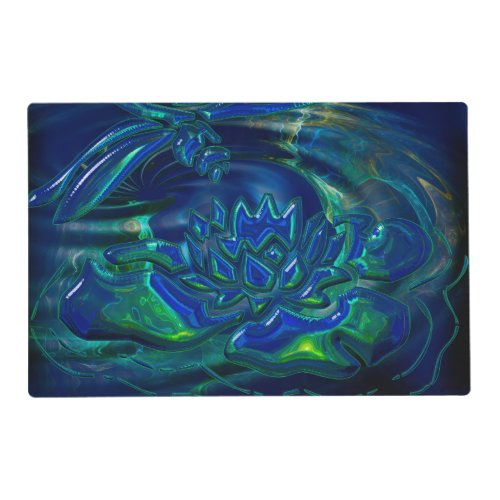 Dragonfly Pond 3D Glass Mixed Media Placemat