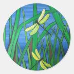 Dragonfly Pond Round Sticker