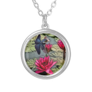 Dragonfly Pond Silver Plated Necklace