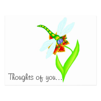 DRAGONFLY POSTCARD THOUGHTS OF YOU