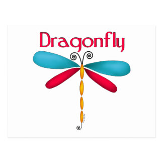 Dragonfly - red/teal postcard