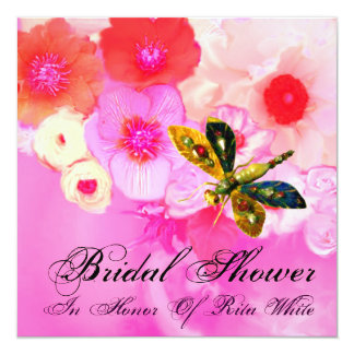 DRAGONFLY, ROSES AND ANEMONE FLOWERS BRIDAL SHOWER CARD