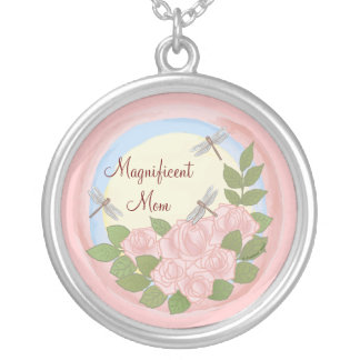 Dragonfly Roses Mom Necklace