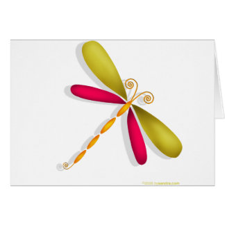 Dragonfly-rust/green Greeting Card