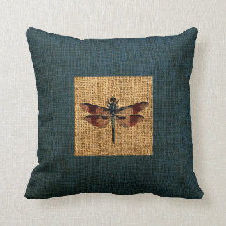 Dragonfly Rustic Deep Sea Blue Border Throw Pillow