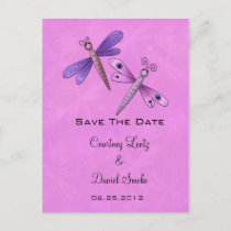 Dragonfly Save The Date Announcement Postcard