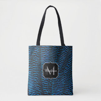 Dragonfly shiny vibrant blue wings Monogram Tote Bag