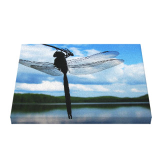 Dragonfly Silhouette Stretched Canvas Prints