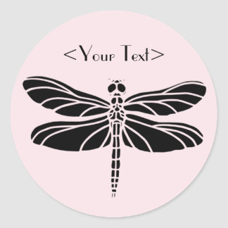 Dragonfly Silhouette Round Stickers