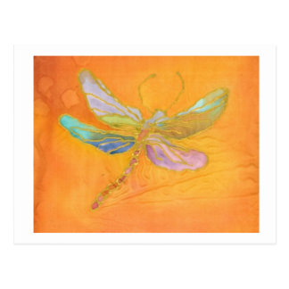 Dragonfly Silk painting Postcard