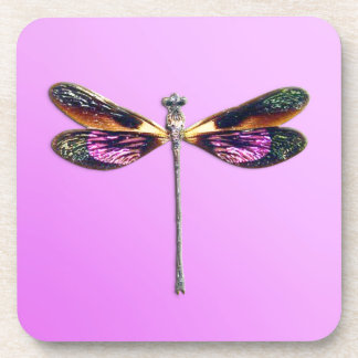 Dragonfly - silver, gold, purple and black coaster