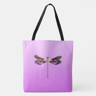 Dragonfly - silver, gold, purple and black tote bag