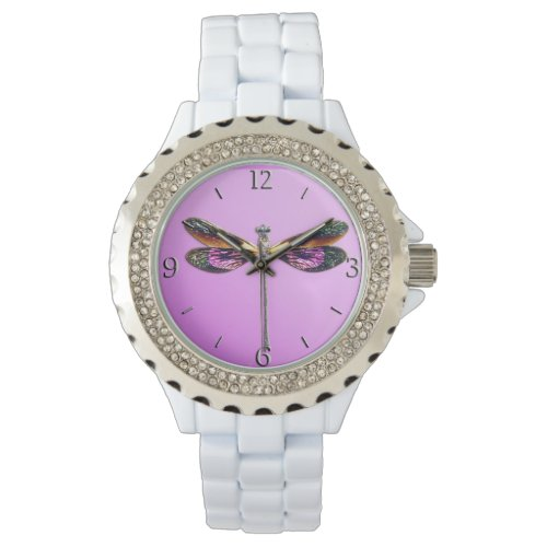 Dragonfly – silver, gold, purple and black wrist watch