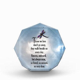 """Dragonfly """"So Loved"""" Poem Acrylic Award"""